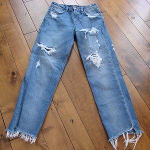 Zara Trafaluc Denim Distressed High Waist Jeans